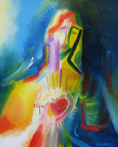 The Sacred Heart of Jesus is depicted in a modern painting by Stephen B Whatley