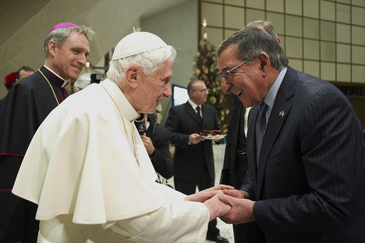 U.S. Defense Secretary Leon Panetta attends Pope Benedict XVI's general audience in Paul VI hall at the Vatican Jan. 16. (CNS photo/Paul Haring) (Jan. 16, 2013)