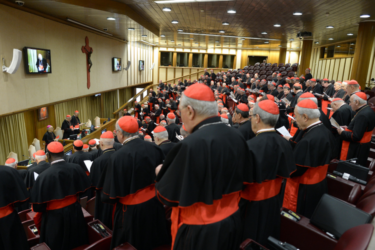 Cardinals gather in synod hall at the Vatican March 7 for one of several general congregation meetings held ahead of the conclave. (CNS photo/L'Osservatore Romano)