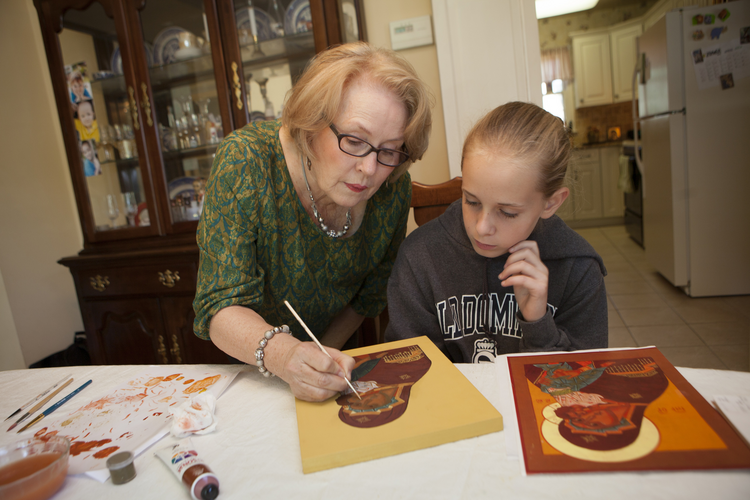 Veronica Royal teaches iconography at her parish and home, promoting an ancient craft and infusing students with a sense of sacred art. (CNS photo/Nancy Phelan Wiechec)