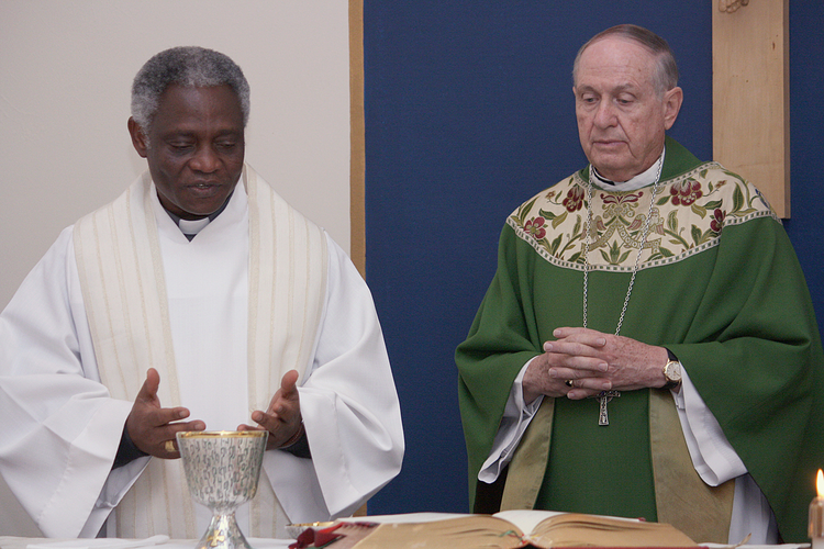 Cardinal Turkson concelebrates Mass with Iowa bishop at Des Moines cathedral (CNS photo/Kelly Mescher Collins)