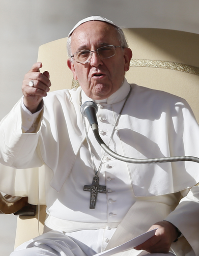 Pope speaks during general audience in St. Peter's Square at Vatican (CNS photo/Paul Haring)