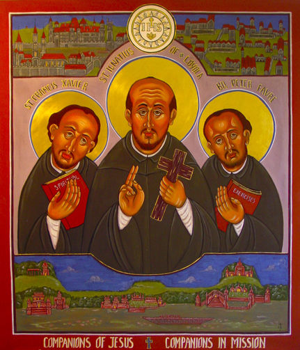 t. Francis Xavier, St. Ignatius of Loyola and Blessed Peter Faber (CNS photo/courtesy of Jesuit General Curia)