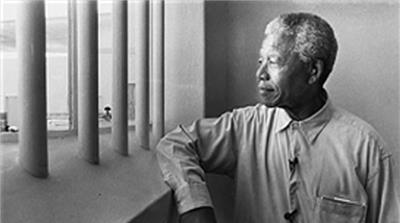 Nelson Mandela (1918-2013), a free man who inhabited a prison cell