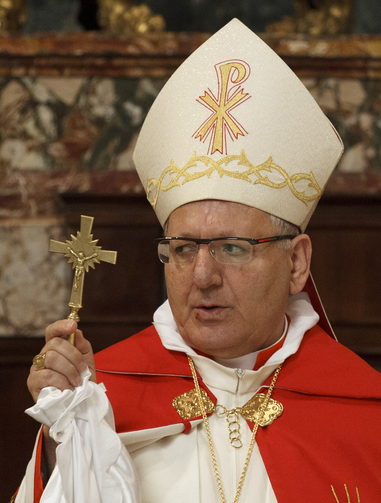 Archbishop Louis Sako of Baghdad, patriarch of the Chaldean Catholic Church, spoke Dec. 14 in Rome about the status of Christians in the Middle East. (CNS photo/Paul Haring)