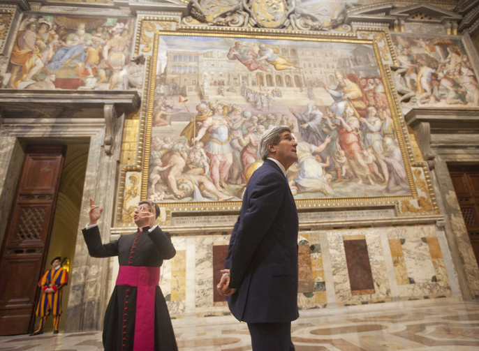 "U.S. Secretary of State John Kerry tours the ""Sala Regia,"" the ""royal room"" of the Vatican, Jan. 14 with Msgr. Jose Bettencourt, the Holy See's head of protocol. (CNS photo/Pablo Martinez Monsivais, pool via Reuters) (Jan. 14, 2014)"