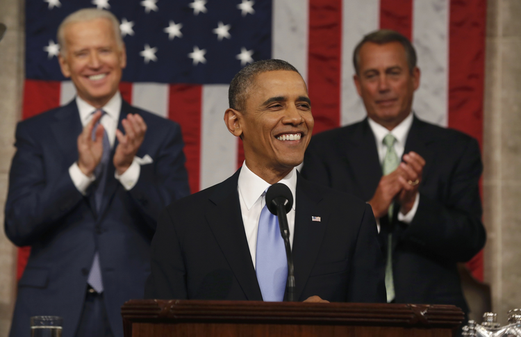 President Obama at last year's State of the Union address. He is not expected to announce an executive order against pettiness in tonight's speech. (CNS photo/Larry Downing, Reuters)