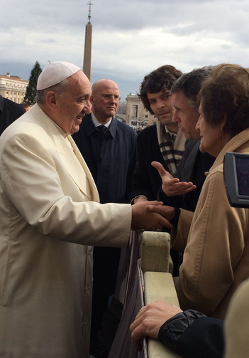Pope Francis meets Philomena Lee and actor Coogan during weekly audience at Vatican. (CNS photo/The Philomena Project handout via Reuters)