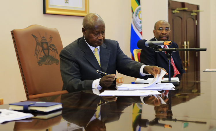 Uganda President Yoweri Museveni signed an anti-homosexuality bill into law in Entebbe on Feb. 24, 2014. (CNS photo/James Akena, Reuters)