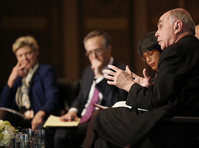 Father Hehir gestures during 'Faith, Culture and the Common Good' conference at Georgetown.