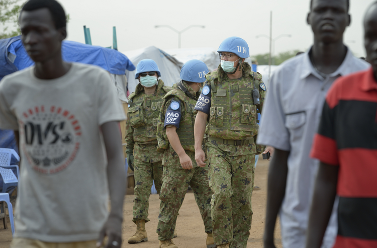 U.N. soldiers patrol a camp for internally displaced families at a U.N. base in Juba, South Sudan. (CNS photo/Paul Jeffrey) (April 23, 2014)