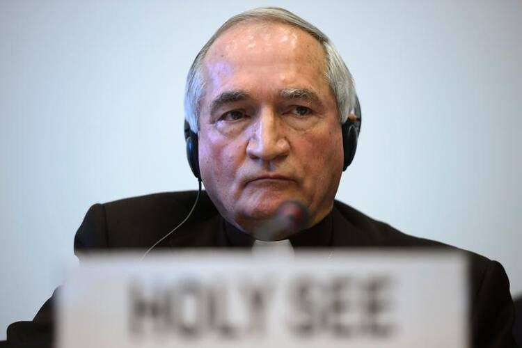 Archbishop Tomasi is pictured in a late January photo in Geneva. (CNS photo/Martial Trezzini, Reuters)