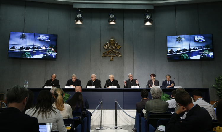 Vatican spokesman speaks during press conference for release of working document for extraordinary Synod of Bishops on family. (CNS photo/Paul Haring)