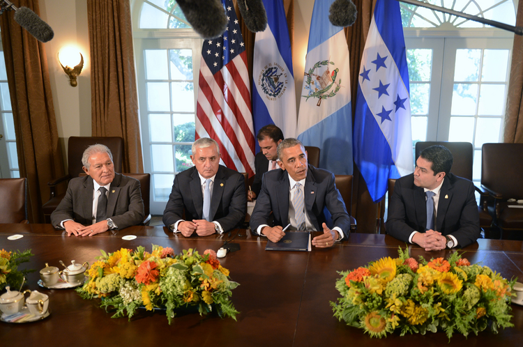 President Barack Obama delivers remarks after a meeting with Central American leaders.  (CNS photo/Shawn Thew, EPA)