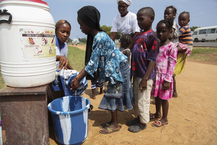 Children encouraged to wash hands at Ebola sensitization program in Liberia.