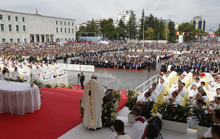 Pope Francis celebrates Mass in Mother Teresa Square in Tirana, Albania, Sept. 21. (CNS photo/Paul Haring)