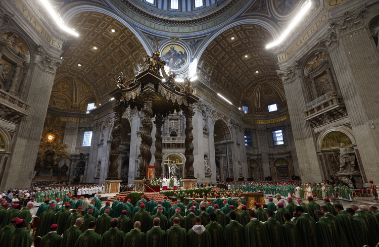 Pope Francis celebrates a Mass to open the extraordinary Synod of Bishops on the family in St. Peter's Basilica at the Vatican Oct. 5. (CNS photo/Paul Haring)
