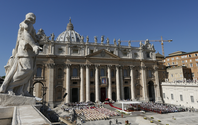 Pope Francis celebrates the beatification Mass of Blessed Paul VI in St. Peter's Square at the Vatican Oct. 19. The Mass also concluded the extraordinary Synod of Bishops on the family. (CNS photo/Paul Haring)