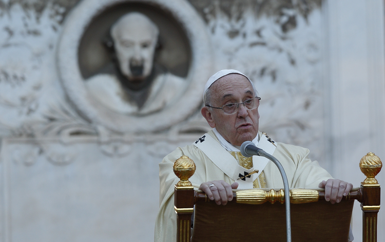 Pope Francis gives the homily as he celebrates Mass at the Verano cemetery in Rome Nov. 1, the feast of All Saints. (CNS photo/Paul Haring)