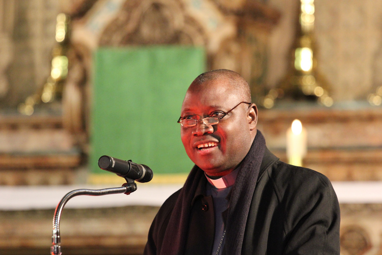 Archbishop from Nigeria speaks in England on country's Ebola efforts and contrasting with its lack of aggression in addressing Islamic extremism (CNS photo/Simon Caldwell)