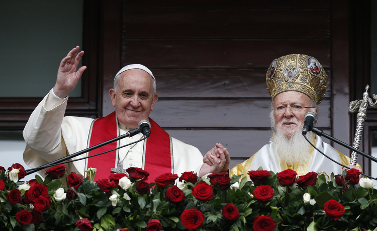 Pope Francis, Ecumenical Patriarch Bartholomew of Constantinople deliver blessing in Istanbul.