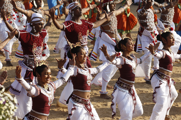 Dancers perform before Pope Francis celebrates the canonization Mass of St. Joseph Vaz at Galle Face Green in Colombo, Sri Lanka, Jan. 14. (CNS photo/Paul Haring)