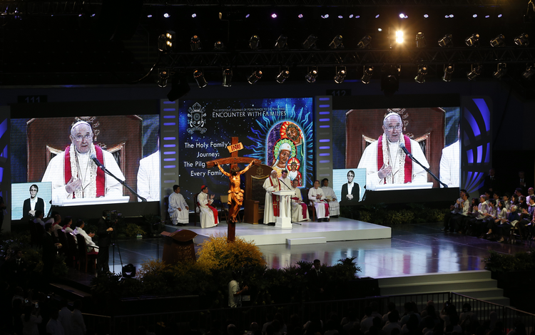 Pope Francis speaks during a meeting with families in the Mall of Asia Arena in Manila, Philippines, Jan. 16. (CNS photo/Paul Haring)
