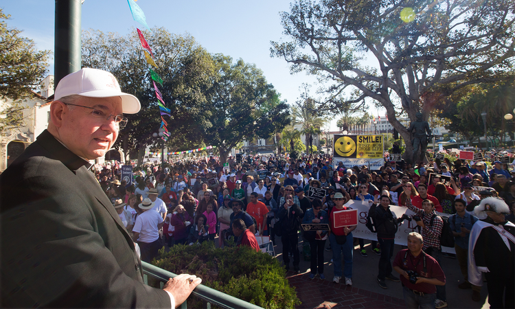 Los Angeles Archbishop Jose H. Gomez stands before participants at the OneLife LA rally in Los Angeles in January.