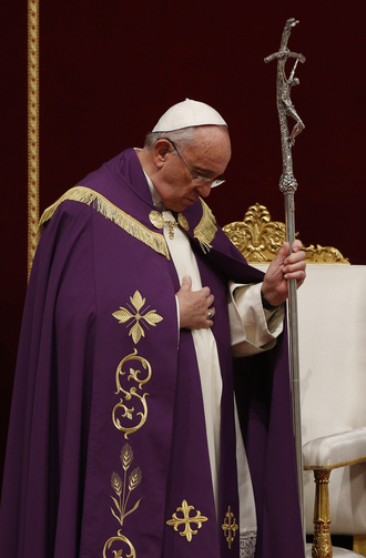 JUBILEE! Pope Francis announces a Holy Year of Mercy during a Lenten penance service in St. Peter's Basilica on March 13.
