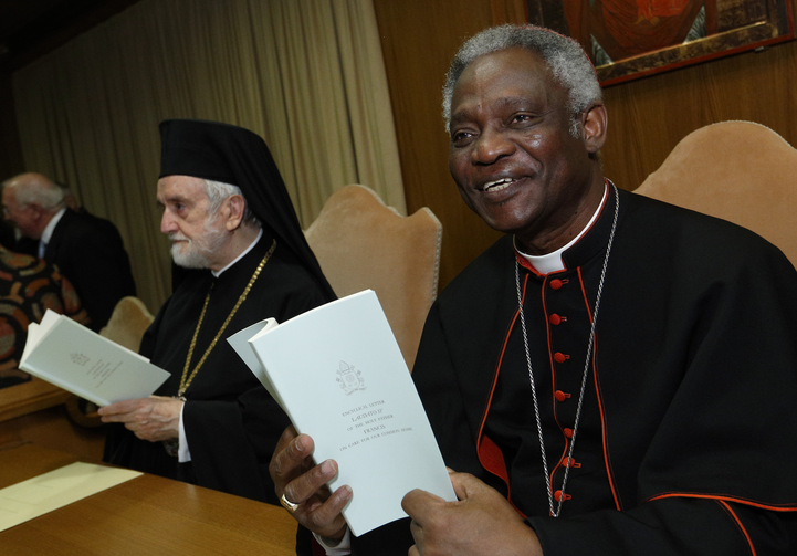 Cardinal Peter Turkson and Orthodox Metropolitan John of Pergamon holds copies of Pope Francis' encyclical on environment before news conference at Vatican.