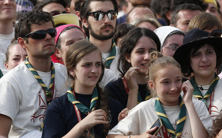 Young people attend a gathering with Pope Francis in Piazza Vittorio in Turin, Italy, June 21. (CNS photo/Paul Haring)