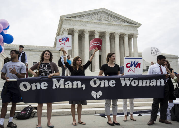 Supporters of traditional marriage rally in front of Supreme Court in Washington