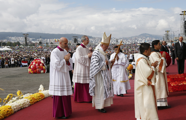 Pope Francis celebrates Mass in Bicentennial Park in Quito, Ecuador, July 7. (CNS photo/Paul Haring)