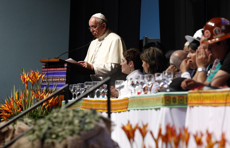 Pope Francis speaks at the second World Meeting of Popular Movements in Santa Cruz, Bolivia, July 9. (CNS photo/Paul Haring)