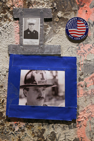 Photo of firefighter and Father Mychal Judge seen on beam at National September 11 Memorial & Museum in New York City