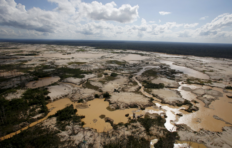 Area deforested by illegal gold mining seen in Peru. (Reuters photo)