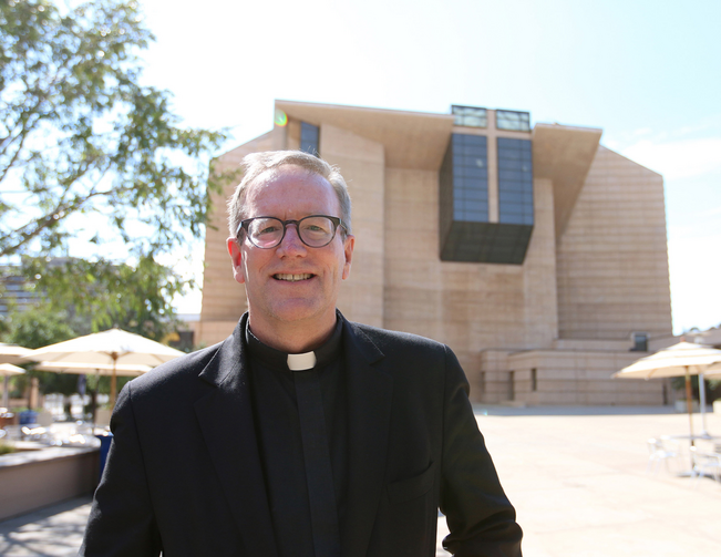 Bishop Robert Barron is pictured in front of the Cathedral of Our Lady of the Angels in Los Angeles July 20, 2015. (CNS photo/J.D. Long-Garcia, The Tidings)