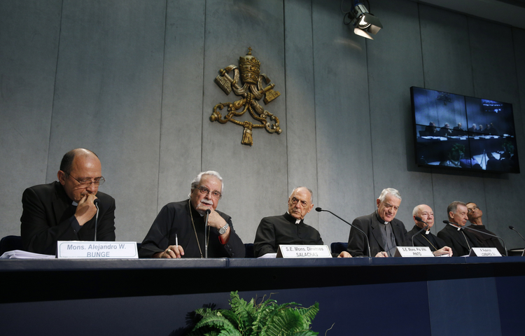 Byzantine Bishop Dimitrios Salachas of Greece, second from left, speaks at a a press conference for the release of Pope Francis' documents concerning changes to marriage annulments at the Vatican Sept. 8. (CNS photo/Paul Haring)