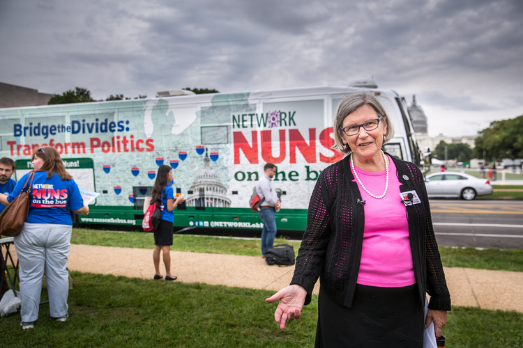 Sister Simone Campbell, executive director of Network, appears with the Nuns on the Bus campaign in Washington in September. (CNS photo/Lisa Johnston, St. Louis Review)