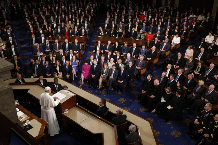 Pope Francis addresses a joint meeting of Congress at the U.S. Capitol in Washington Sept. 24. In the first such speech by a pope, he called on Congress to stop bickering as the world needs help. (CNS photo/Paul Haring)