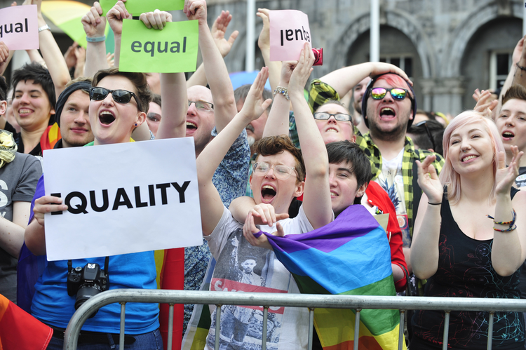 Supporters of same-sex marriage in Ireland react to their victory in a May 23, 2015, national referendum. (CNS photo/Aidan Crawley, EPA)