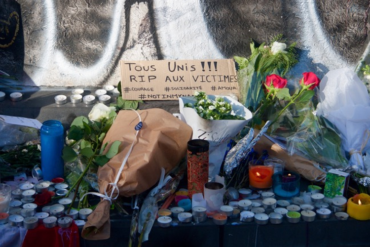 A memorial is seen at the Place de la Republique in Paris on November 15. (CNS photo/Lucie Brousseau)