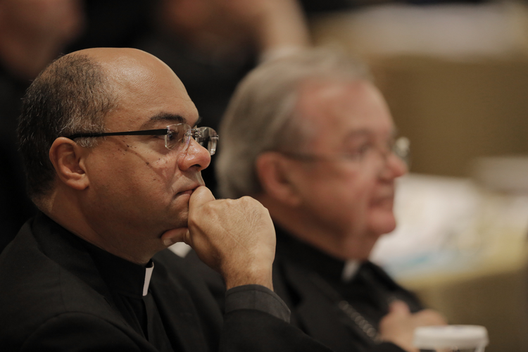 Bishop Shelton J. Fabre of Houma-Thibodaux, La., listens to a speaker Nov. 16 during the opening of the 2015 fall general assembly of the U.S. Conference of Catholic Bishops in Baltimore. (CNS photo/Bob Roller)