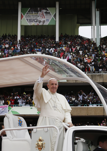 Pope Francis arrives for a meeting with youths at Kasarani Stadium in Nairobi, Kenya, Nov. 27. (CNS photo/Paul Haring)