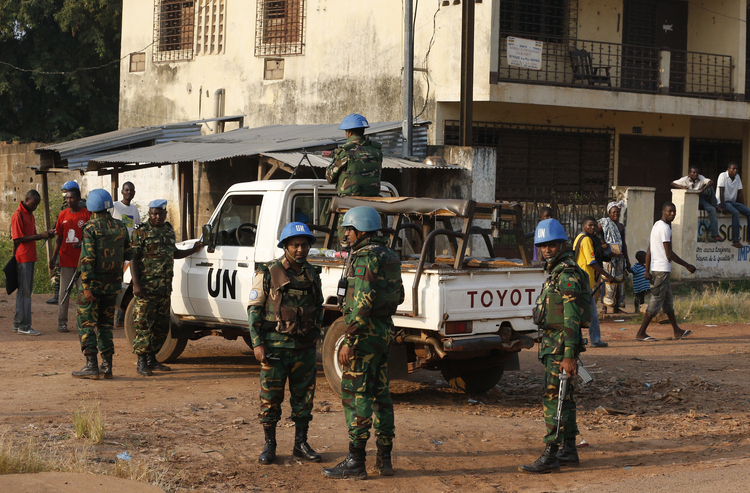U.N. peacekeepers patrol the street leading to Pope Francis' meeting with the Muslim community at the Koudoukou mosque in Bangui, Central African Republic in November. (CNS photo/Paul Haring)