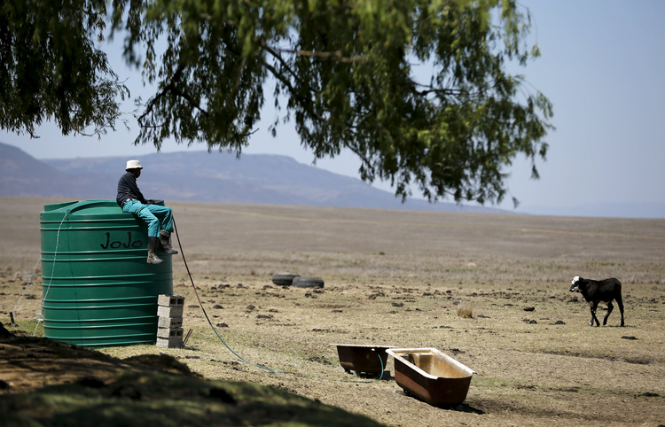 A farmworker sits on a water tank Nov. 9 as he supplies his livestock with water at a drought-stricken farm outside Utrecht, South Africa. (CNS photo/Siphiwe Sibeko, Reuters)