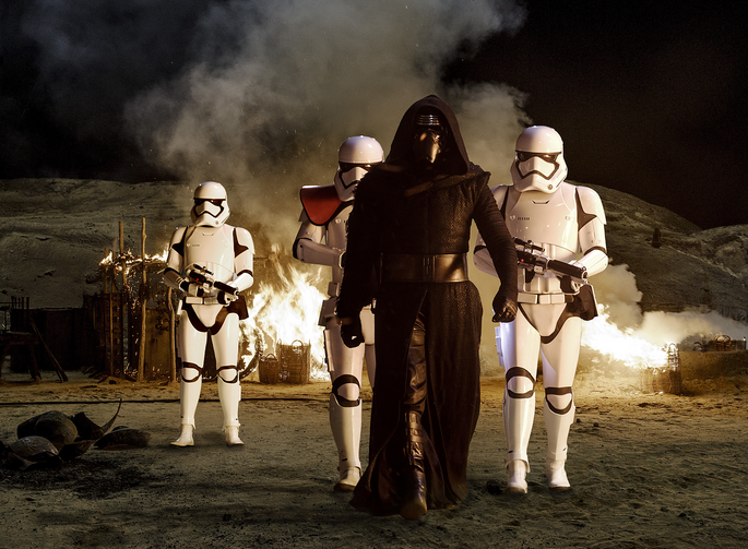 "Adam Driver, who plays villain Kylo Ren, stars in a scene from the movie ""Star Wars: The Force Awakens."" (CNS photo/Disney)"
