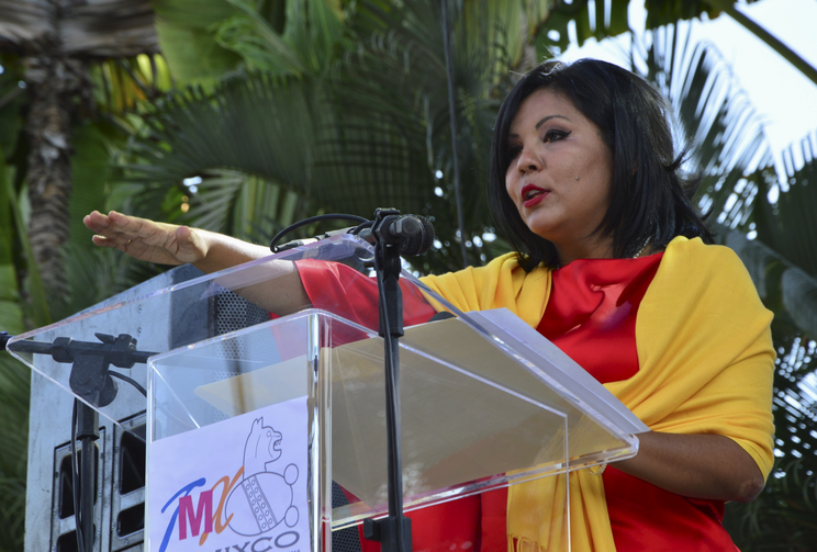 Gisela Mota takes the oath of office as new mayor of Temixco, Mexico, Jan. 1. She was killed the next day at her home by four gunmen. (CNS photo/Stringer, Reuters)