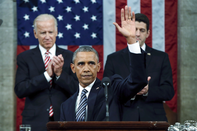 U.S. President Barack Obama waves at the conclusion of his final State of the Union address to a joint session of Congress in Washington on January 12, 2016. (CNS photo/Evan Vucci, Pool via Reuters)