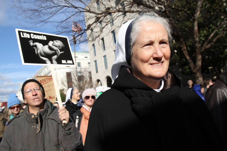 Mother Agnes Mary Donovan, superior general of the Sisters of Life, walks with other pro-life advocates during the March for Life in Washington Jan. 22, 2015. (CNS photo/Gregory A. Shemitz)